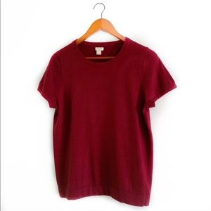 J. Crew Short-Sleeve Sweater Burgundy